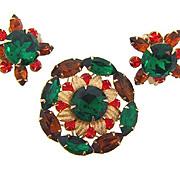 Vintage floral rhinestone Brooch and clip on Earrings