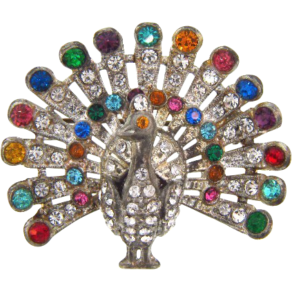 1940's White Metal colorful figural peacock Brooch