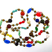 50 inch long vintage bead Necklace with imitation pearls, Bakelite beads, glass beads