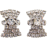 Vintage large crystal rhinestone clip on Earrings