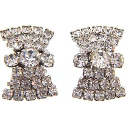 Vintage large crystal rhinestone clip on Earrings