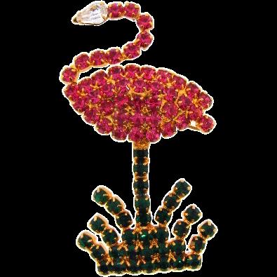Figural pink flamingo rhinestone Brooch