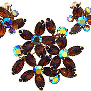 Signed Beau Jewels topaz rhinestone 1960's floral Brooch and clip on Earrings
