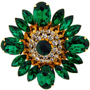 Gorgeous large floral design Brooch with emerald green and crystal rhinestones