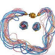 Fabulous signed Hobe (on the clip on earrings only) torsade choker Necklace and clip on earrings