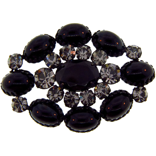 Large oval rhinestone Brooch with gunmetal finish