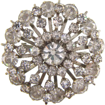 Vintage 1950's all crystal rhinestone circular Brooch