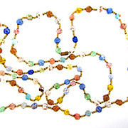 52 inch Murano glass bead Necklace with adventurine inclusions
