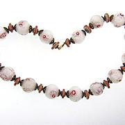 Murano hand blown art glass millefiore large bead choker Necklace