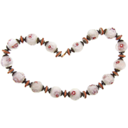 Murano hand blown art glass millefiore large bead choker Necklace