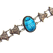 Sterling silver Egyptian Revival Bracelet with blue ceramic scarab and sterling lotus bud links