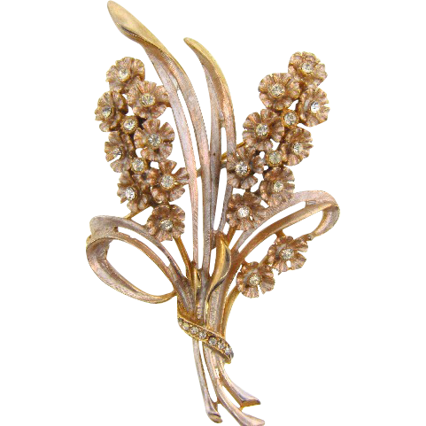 Lovely Hyacinth floral Brooch with crystal rhinestones