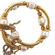 Vintage double wrap around Bracelet with imitation baroque pearls
