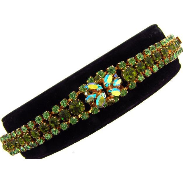 Lovely vintage rhinestone Bracelet  in shades of green