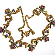 Vintage colorful floral rhinestone choker Necklace