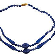 Vintage deep blue adventurine glass bead Necklace choker length
