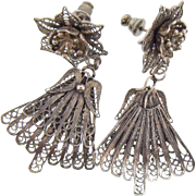Fancy floral silver wire pierced Earrings with fan shaped drops