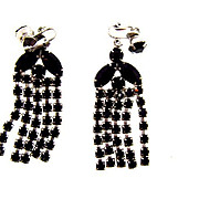Vintage 1960's black rhinestone clip on Waterfall Earrings