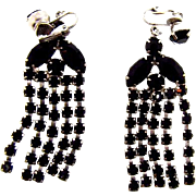 Vintage 1960's black rhinestone clip on Waterfall Earrings