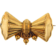 Early 1900's bow design hollow ware gold filled Brooch
