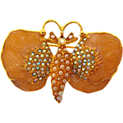 Strongwater Studio butterfly Brooch with AB rhinestones and imitation pearls
