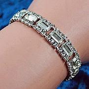 "Gorgeous silver tone signed ""KARU"" crystal rhinestone bracelet"