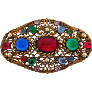 Large gold wash 1940's brooch with multicolored glass stones