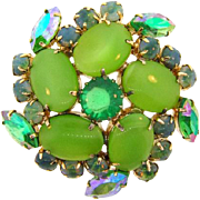 Vintage 1960's rhinestone Brooch in shades of green