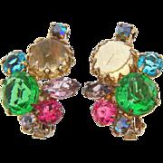 Vintage 1960's multicolored rhinestone clip on Earrings