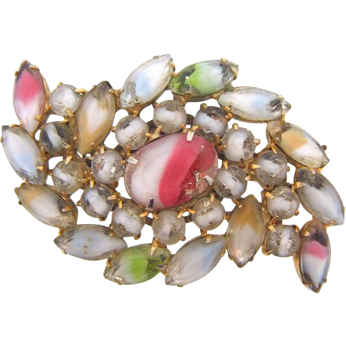 Unusual 1960's rhinestone Brooch with multicolored Givre stones