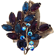 Lovely fall leaf rhinestone Brooch
