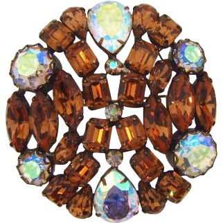 Gorgeous vintage rhinestone Brooch in autumn shades