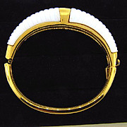 Signed Crown Trifari hinge Bracelet with white ribbed lucite