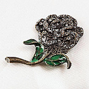 Fabulous unusual floral Iridescent glass brooch