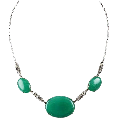 Sterling choker necklace green glass & Marcasites