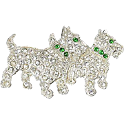 Scottie Dogs brooch  pave set crystal rhinestones & green Collar & Eyes
