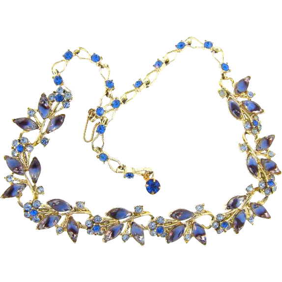 Vintage gold tone blue rhinestone choker Necklace in a floral design