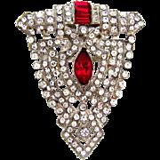 Art Deco rhinestone Dress Clip with patent date to 1932 in a shield design