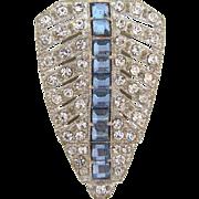 Art Deco shield shaped rhinestone Dress Clip