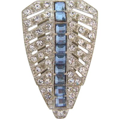 Art Deco shield shaped rhinestone Dress Clip