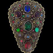 New England Glass Works shield shaped fruit salad Art Deco dress clip