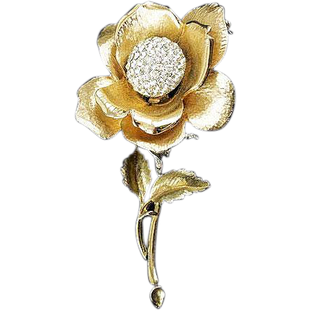 Gorgeous large floral Tremblor brooch brushed gold tone rhinestone pave set ball center