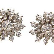 Vintage Snowflake clip on Earrings with crystal rhinestones