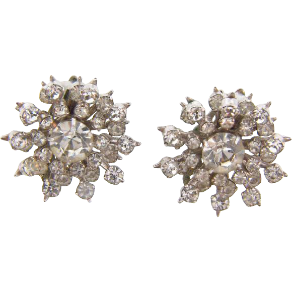 Vintage Snowflake clip on Earrings with crystal rhinestones