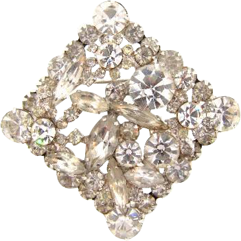 Juliana D&E square two layered Brooch with crystal rhinestones