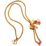 1950's Retro bolero style Necklace with leaf design pink and crystal rhinestone slide