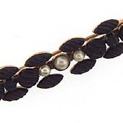 Crepe stone Mourning Bar Pin with three imitation center pearls