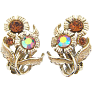 Vintage 1960's floral rhinestone clip on Earrings in shades of amber