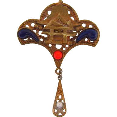 Vintage Oriental designed Brooch with drop