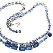 Vintage 1960's bright blue Rhinestone Choker Necklace